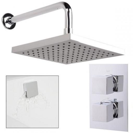 EcoCube Dual Valve with 200mm Square Shower Head, Filler & Overflow