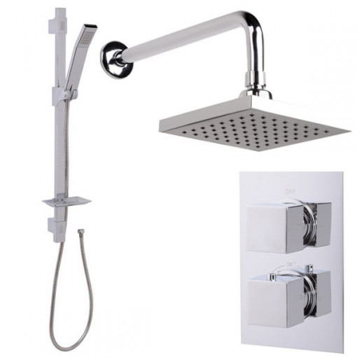 Quadro Slide Shower Rail Kit with EcoCube Dual Valve, 150mm Square Head & Wall Outlet