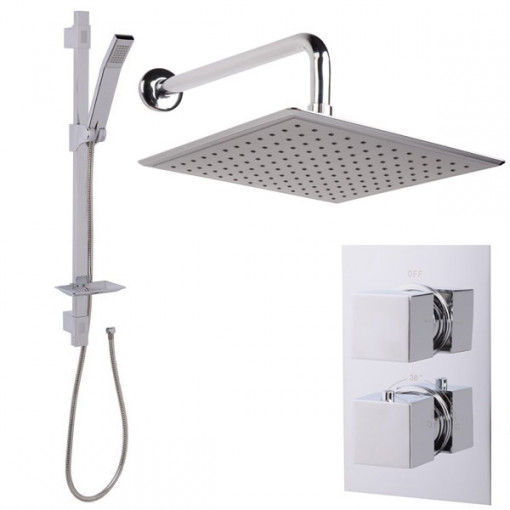Quadro Slide Shower Rail Kit with EcoCube Dual Valve, 250mm Square Head & Wall Outlet