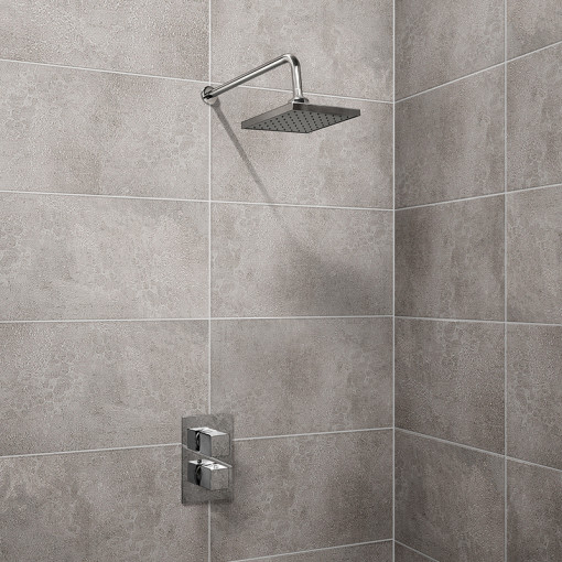 EcoCube Dual Valve with 150mm Square Shower Head, Filler & Overflow