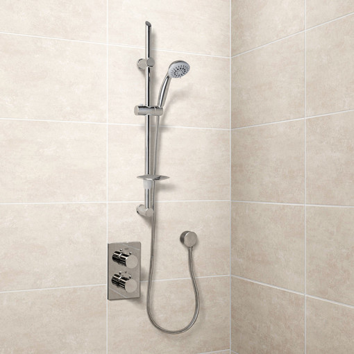 Eco Slide Shower Rail Kit with EcoS9 Dual Valve, Wall Outlet, Filler & Overflow