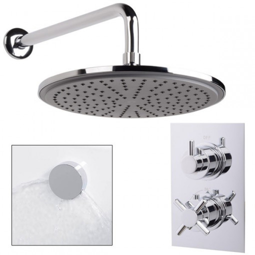 EcoStyle Dual Valve with 250mm Shower Head, Wall Arm, Filler & Overflow