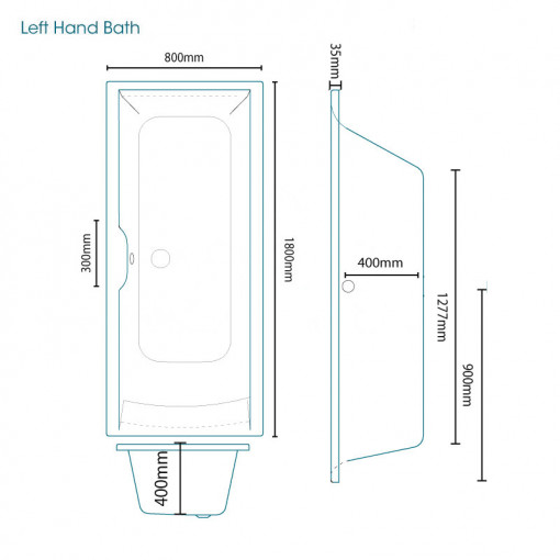 Voss 1800 x 800 Left Hand Straight Shower Bath with 6mm Hinged Screen