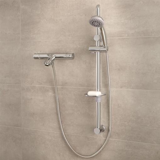 Peru Deluxe Wall Mounted Bath Shower Mixer & Eco Slide Rail Kit