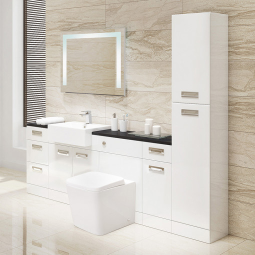 Cuba Toilet & Basin Left Hand Furniture Bathroom Suite with Black Worktop