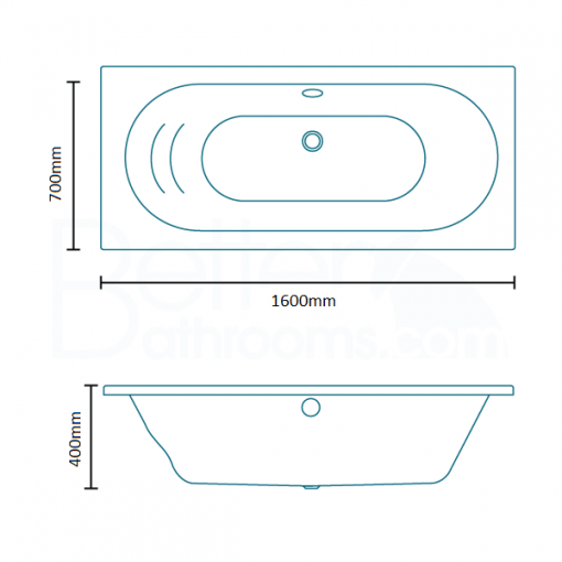 Duo 1600 x 700 Double Ended Bath