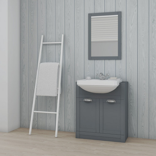 Nottingham Grey Semi Inset 1 Tap Hole Vanity Unit