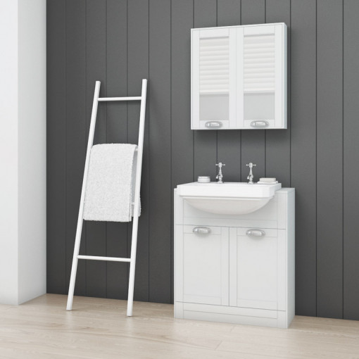 Nottingham White Semi Inset 2 Tap Hole Vanity Unit