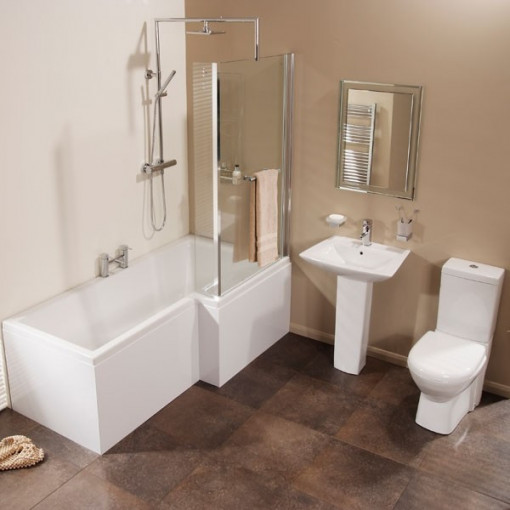 Veneto verona right hand shower bath suite with taps for Square baths