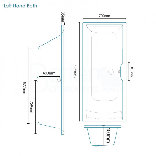 Voss Dee 65 Vanity Unit Straight Bath Bathroom Suite