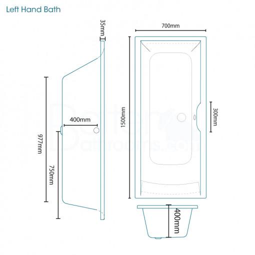 Voss 75 Vanity Unit Shower Bath Bathroom Suite