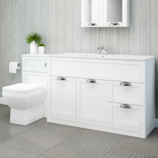Nottingham 1000 White Combination Unit with Tabor Back to Wall Toilet