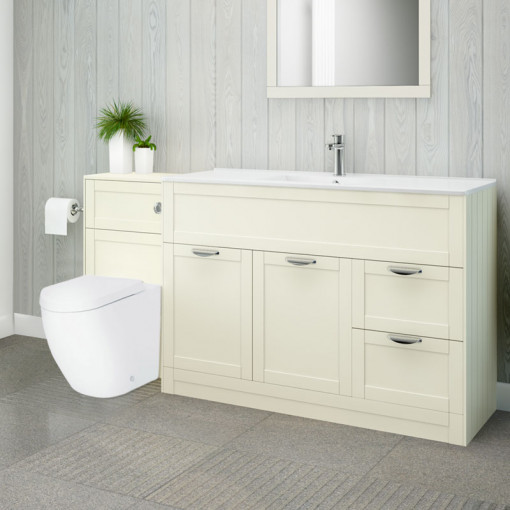 Nottingham 1000 Ivory Combination Unit with Venus Back to Wall Toilet and Seat