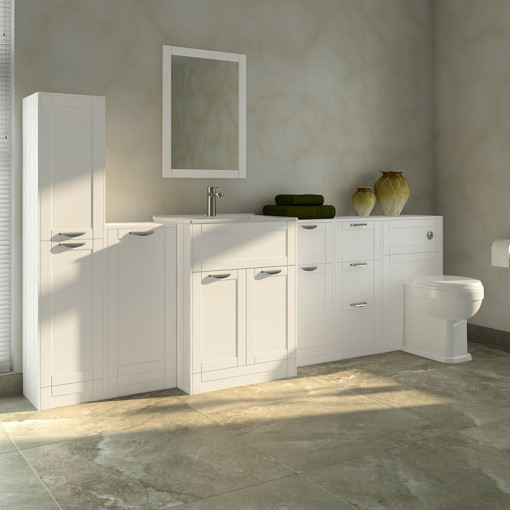 Nottingham White 1000 Furniture Bathroom Suite with Park Royal™ Back to Wall Toilet