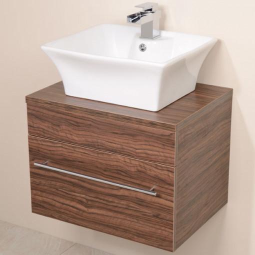 Aspen™ 600 Wall Mounted Walnut Cabinet with Pisa Basin