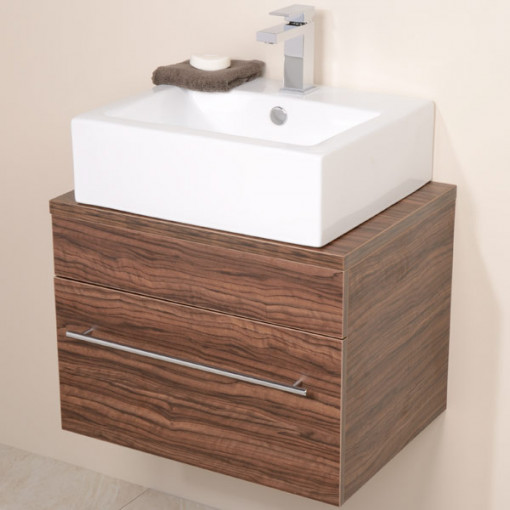 Aspen™ 600 Wall Mounted Walnut Cabinet with Rec Basin