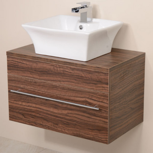 Aspen™ 750 Wall Mounted Walnut Cabinet with Pisa Basin