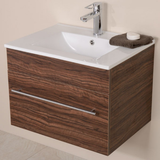 Aspen™ 600 Wall Mounted Walnut Vanity Unit