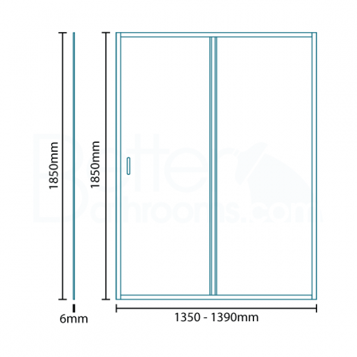 Aquafloe™ 6mm 1400 x 700 Sliding Door Shower Enclosure