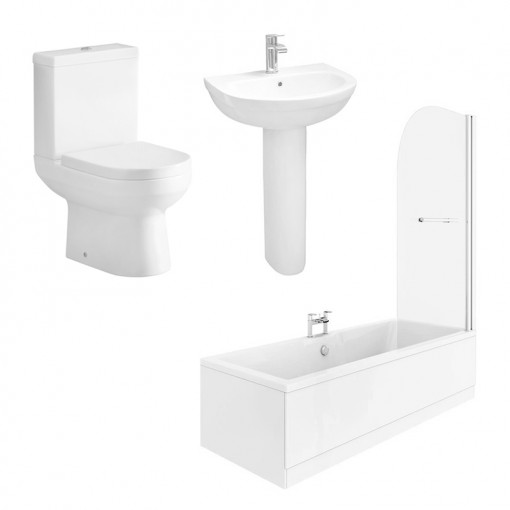 1700 Voss Dee Shower Bath Bathroom Suite with Curved Screen