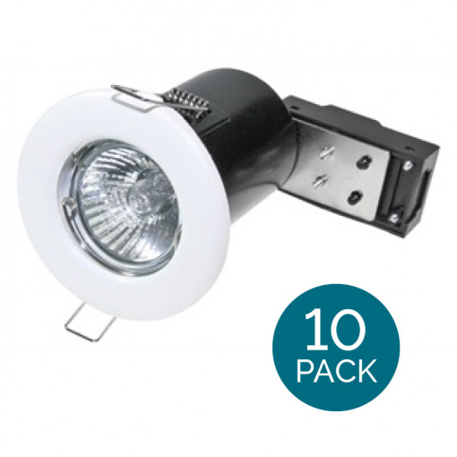 10 Pack - Fixed Fire Rated Downlight - White IP20