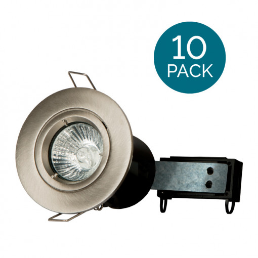 10 Pack - Fixed Fire Rated Downlight - Brushed Steel Twist & Lock