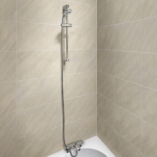 Laos Deck Thermostatic Bath Shower Mixer with Primo Slide Shower Rail Kit
