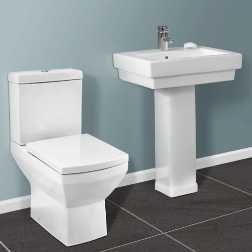Tabor Close Coupled Toilet & Turin Full Pedestal Two Piece Suite