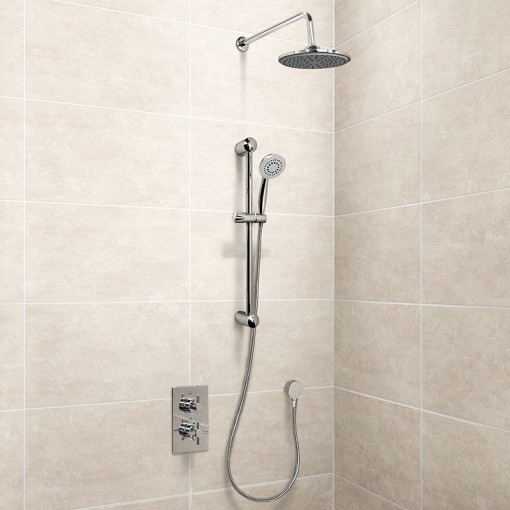 EcoStyle Concealed Dual Valve with Diverter, Outlet, Head, Arm and 5 Spray Ezio Kit