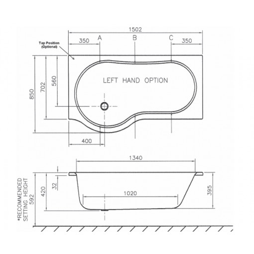 Beresford 1500 X 850 P Shape Right Hand Bath With Front