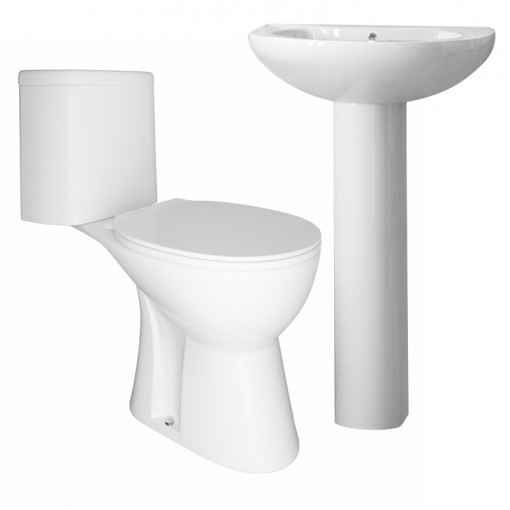 Venice Close Coupled Toilet & Cova Full Pedestal Two Piece Suite