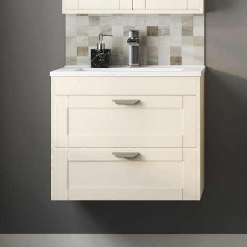 Nottingham Ivory 600 Two Drawer Wall Hung Vanity Unit