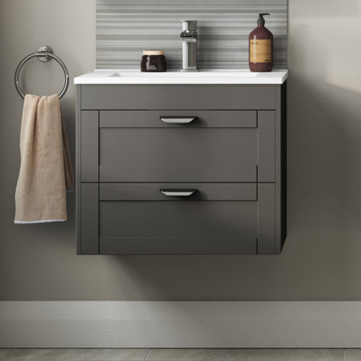 Nottingham Grey 600 Two Drawer Wall Hung Vanity Unit
