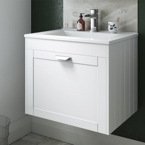 Nottingham White 600 Single Drawer Wall Hung Vanity Unit