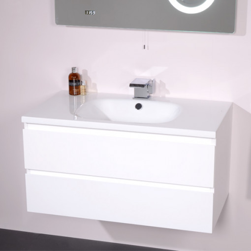 Barcelona 900 White Vanity Unit