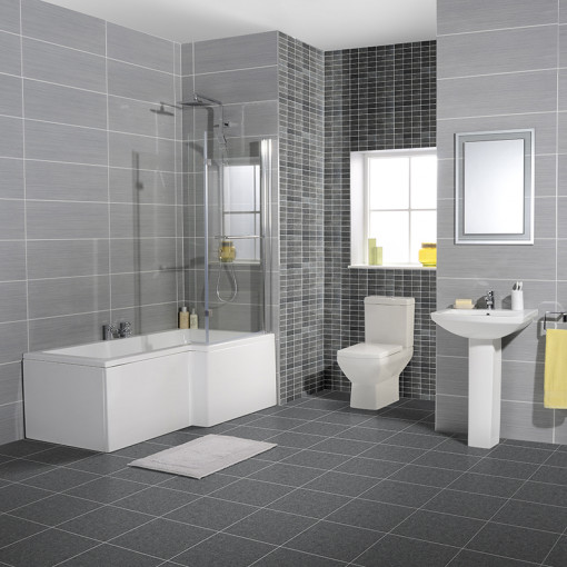 Tabor™ 1700 Shower Bath 46 Bathroom Suite Including Taps and Waste