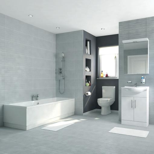Voss Dee 55 Vanity Unit Straight Bath Bathroom Suite