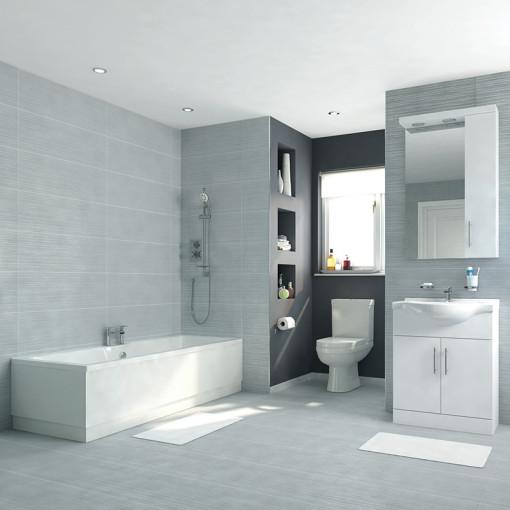 Voss Dee 65 Vanity Unit Straight Bath Bathroom Suite