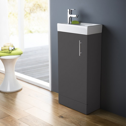 Ashford Cloakroom Grey 400 Vanity Unit with Albury Short Projection Toilet and Seat