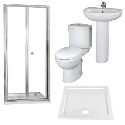 Aquafloe™ 6mm 800 Bi Fold Shower Door & Tray with Albury Suite