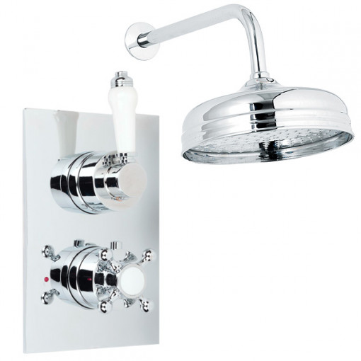 Traditional Dual Valve with 150mm Shower Head & Wall Arm