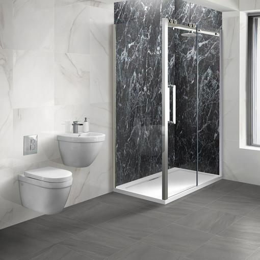 Trinity Premium 10mm Easy Clean 1200 x 800 Left Hand Frameless Sliding Door Enclosure With Aurora Suite