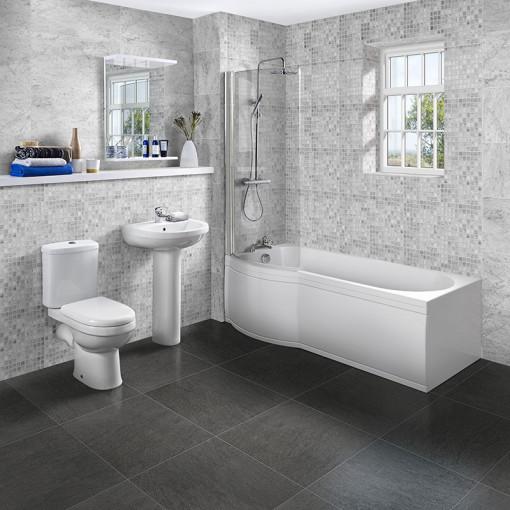 P Shaped 1700 Left Hand Shower Bath, Front Panel, Screen & Albury Suite