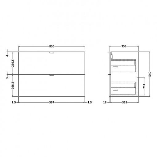 Austin 800mm Grey Avola Wall Hung Two Drawer Vanity Unit