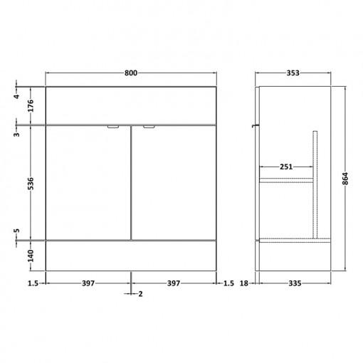 Austin 800mm Grey Gloss Freestanding Two Door Vanity Unit