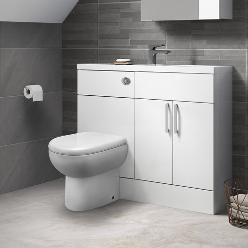 Austin White Gloss Cloakroom Combination Unit with Santorini back to wall toilet