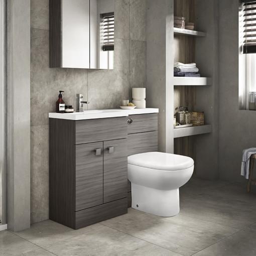Austin Left Hand Grey Avola Combination Unit with Santorini back to wall toilet