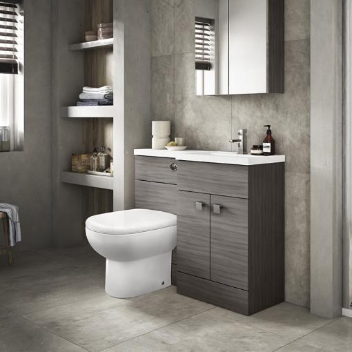 Austin Right Hand Grey Avola Combination Unit with Santorini back to wall toilet