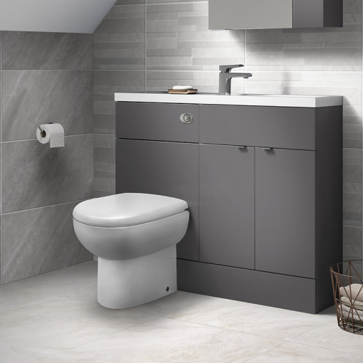 Austin Grey Gloss Cloakroom Combination Unit with Santorini back to wall toilet