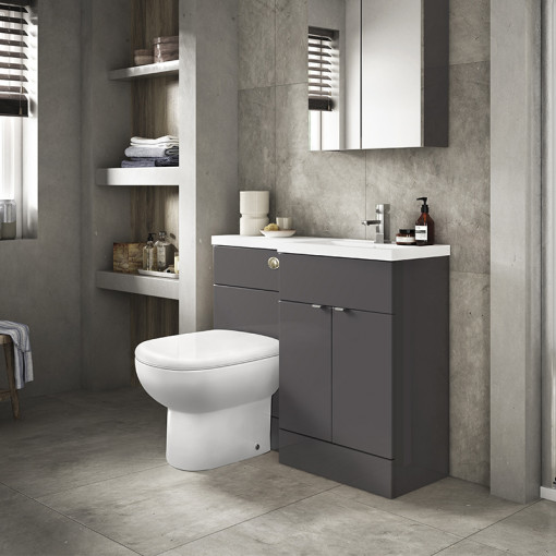 Austin Right Hand Grey Gloss Combination Unit with Santorini Back to Wall Toilet